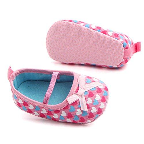 Jamicy® Neugeborene Baumwolle Baby Mädchen Bowknot Sneaker Herz Druck Anti-Rutsch-Single Schuhe Sneaker Lila Rosa EU 11 12 13 Rosa