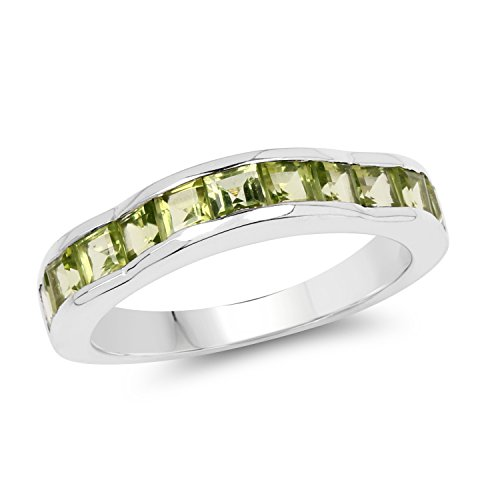 Johareez Genuine Princess Cut Peridot Sterling Silver Chanel Ring
