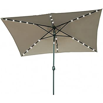 This Item Rectangular Solar Powered LED Lighted Patio Umbrella   10u0027 X 6.5u0027    By Trademark Innovations (Tan)
