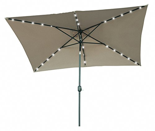 Trademark Innovations Rectangular Solar Powered LED Lighted Patio Umbrella, 10′ x 6.5′, Tan