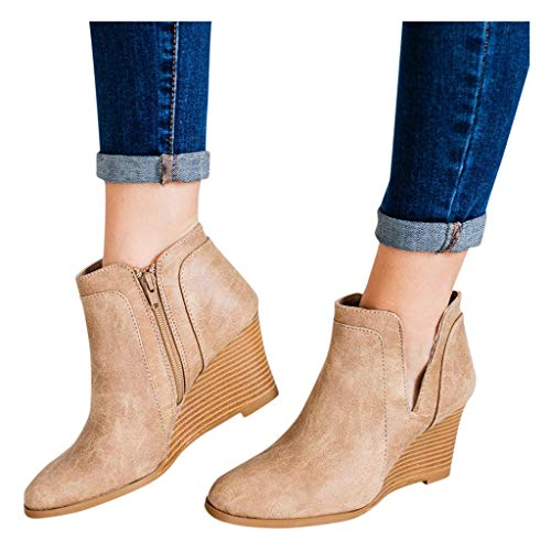 Women Wedge Heeled Ankle Boots Wide Width V Cutout Short Booties Mid Chunky Block Heels Boot with Zipper