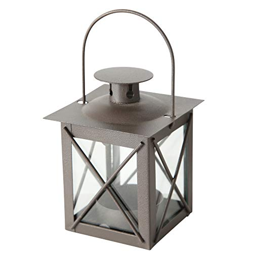 (WHW Whole House Worlds Urban Chic Industrial Metal Cross Post Hurricane Lanterns for LED or Wax Tealights, 4 1/2 Inches Tall, Rustic Gray Gunmetal Iron and Crystal Clear Glass, Vintage Style)
