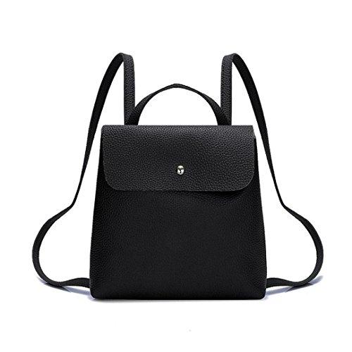 VIASA Fshion Women Girl Pure Fashion Sexy Color Leather Mini School Bag Backpack Shoulder Bag (Black)