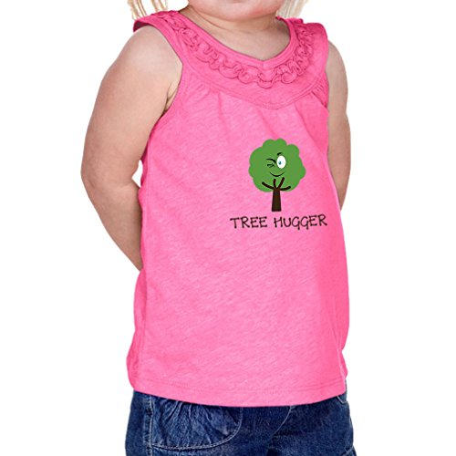 Tree Hugger Style 1 Infants Jersey V Neck Ruffle Yoke Tank Hot Pink 24 (Tree Hugger Tank)