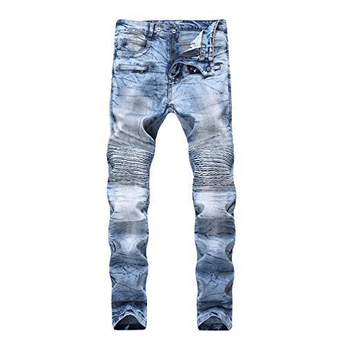 DANT BULUN Men's Ripped Slim Straight Fit Moto Biker Jeans with Zipper Deco (W36, Light Blue01) ()