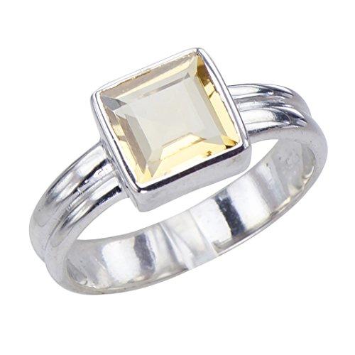 Eloquent Art Nouveau Genuine Natural Golden Citrine Gemstone Sterling Silver - Cut Gems Square