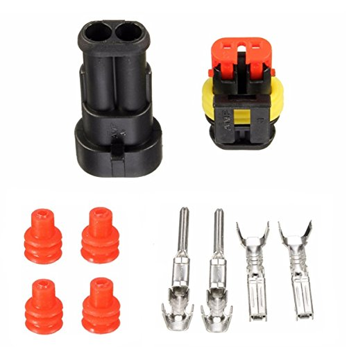ILS - Waterproof PA66 2 Pin Way Wire Connector Terminals For Motorcycle Electrical Car Truck I LOVE SHOPPING
