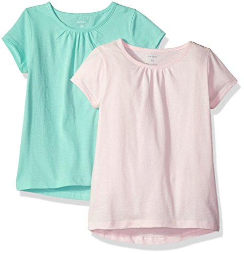 Carter's Girls' Toddler 2-Pack Tees, Light Pink/Mint, - Tee Short Carters Sleeve