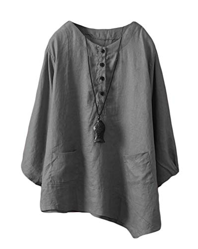 Minibee Women's Linen Tunic Blouse Elbow Sleeve Asymetrical Shirt Top with Pockets Dark Grey L