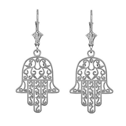 925 Sterling Silver Jewish Hamesh Hand Filigree Hamsa Earrings