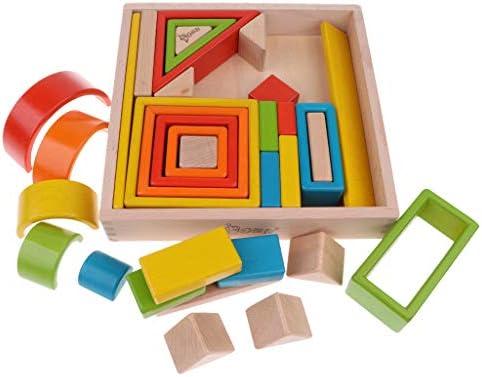 CUTICATE 32ピース/個木製スタッキングブロック幼児向けの早期教育玩具
