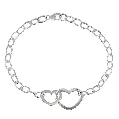 Les Poulettes Bijoux - Bracelet Argent Double Coeurs