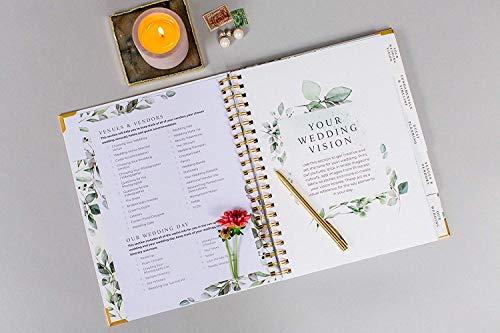 Amazon.com: Planificador de boda con flores doradas de Your ...