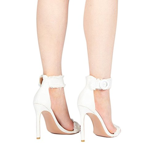... Damen Sommer Open Toe Sandalen High-Heels Stiletto Cowboy  Knöchelriemchen Weiß ...