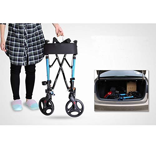 Stand Up Rollator Walker, Adjustable Handle Height with Upholstered Seat and Lower Basket Auxiliary Walking Safety Walker (Size : Blue-A) by YL WALKER (Image #4)