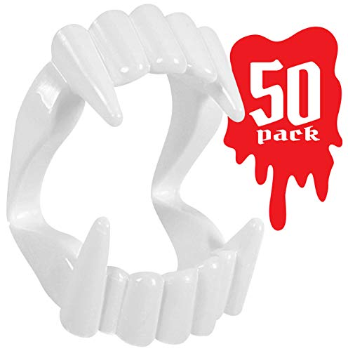 Kangaroo Toy Vampire Fangs for Kids, (50-Pack) Toy Fangs for Kids, White, Plastic]()