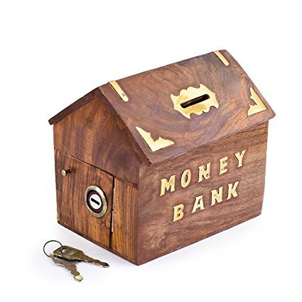 Handmade Wooden Money Box Safe Piggy Bank for Kids & Adults Hut Shape , Golden Dolphin With lock Coin Box, Money Storage Box., Easter Day / Mothers Day / Good - India Hut