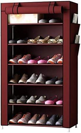 シューズキャビネットスチールパイプファブリックシューラック、6階フロアフロア多機能収納、大容量、軽量、4色 ++ (Color : Red)
