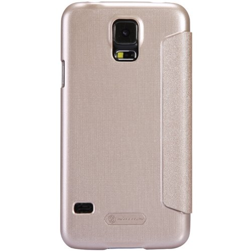 Nillkin Sparkle Quick View Window PU Leather Cover PC Hard Case Shell Compatible for Samsung Galaxy S5 SV G900 (Champagne Gold)