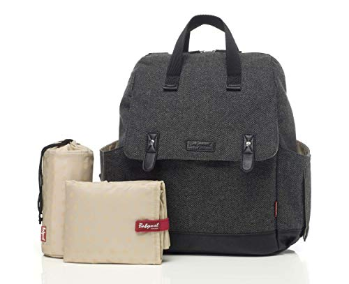 (Babymel Robyn Convertible Backpack Diaper Bag, Tweed Grey)