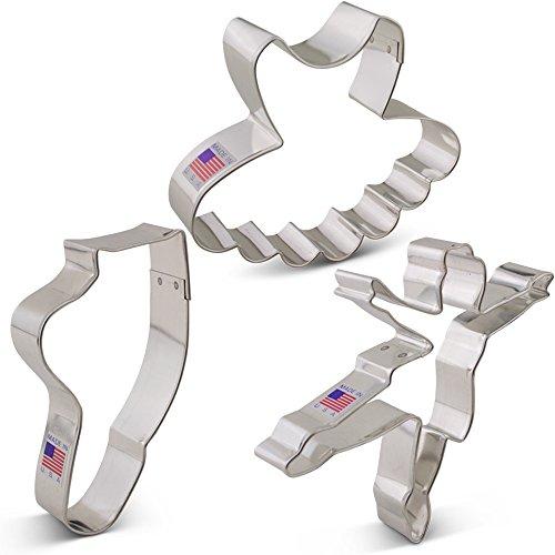 Ballet / Dance Cookie Cutter Set - 3 piece - Ballerina, Tutu and Ballet Shoe - Ann Clark - Tin Plated Steel