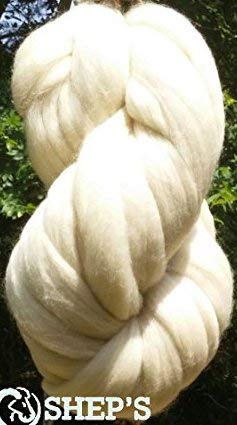 SUPER SALE 1 lb POUND Natural White Wool Top Roving Fiber Spin, Felt Crafts LUXURIOUS with FAST SHIPPING! 1lb ()