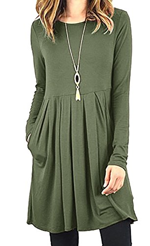 Roselux Women's Long Sleeve Floral Print & Solid Casual Pleated Swing Loose T- Shirt Dresses with Pockets (Army (Sweater Dresses Boots)