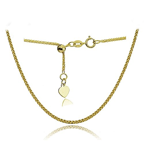 14K Yellow Gold .8mm Spiga Wheat Adjustable Italian Chain Anklet, 9-11 Inches by Bria Lou