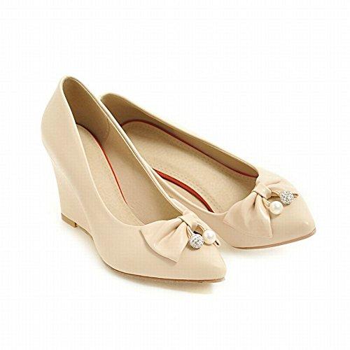 Beige Latasa Womens High Heel Cute toe Wedge Bow Pointed Pumps zRqzrdHx