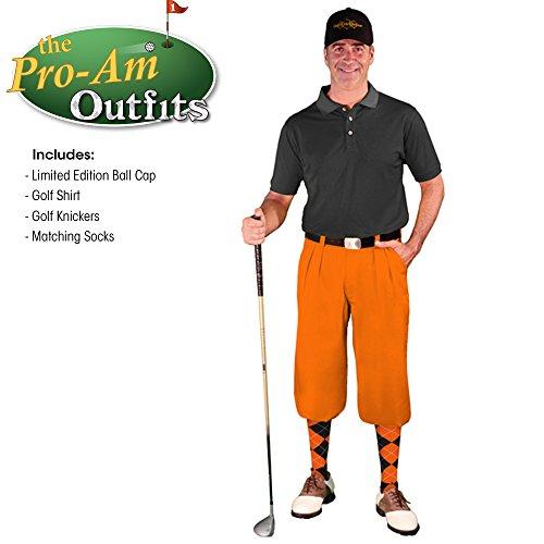 Edition Golf Shirt - Golf Knickers Mens Outfit - Orange Microfiber, Limited Edition Ball Cap, Over-The-Calf Argyle Socks, Black Golf Shirt - Waist 36