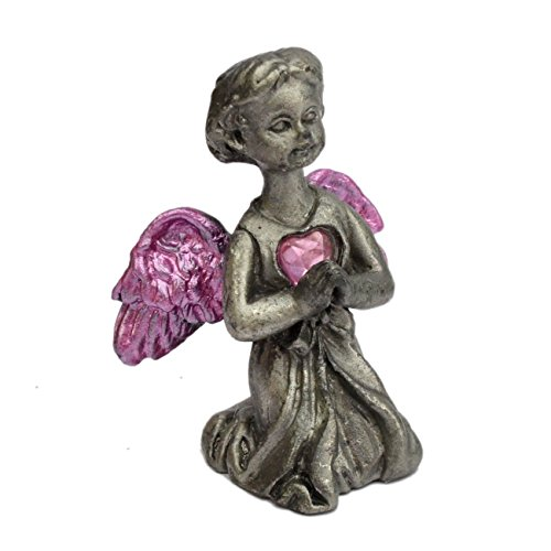 Pewter Angel Figurine Statue Collectible - Little Angel with a Heart 1.5