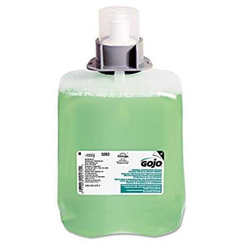 GOJO FMX-20 Green Certified Foam Hand, Hair & Body Wash, Cucumber Melon Scent, 2000 mL Foam Wash Refill for GOJO FMX-20 Push-Style Dispenser (Case of 2) - 5263-02