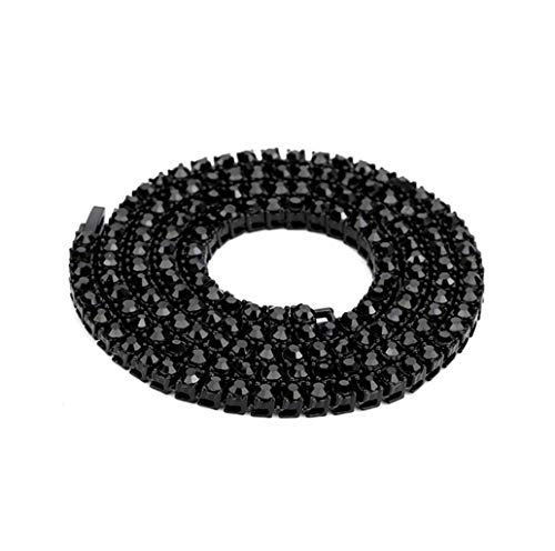 WoCoo 2019 New Color 3/4 / 5mm 1 Row Round Cut Rhinestone Tennis Chain Necklace 16-36 inches Silver, Rose Gold,Gun Black(Black,22 inch)