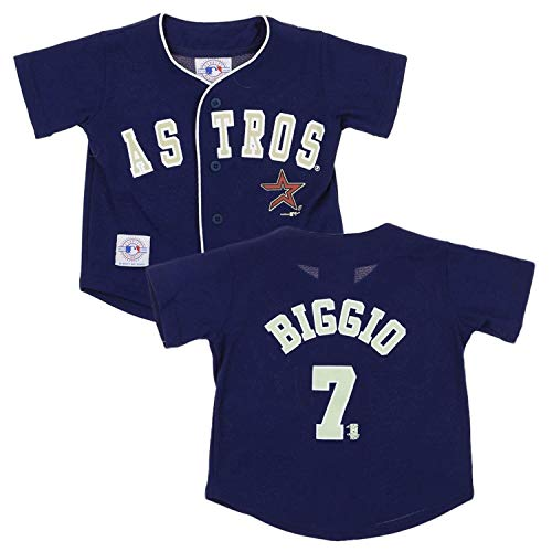 Houston Astros Craig Biggio #7 MLB Little Boys Toddler Vintage Jersey, Navy 4T