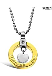 """3Aries Stainless Steel Couple Necklaces Golden/Black Round Circle w/ Love Heart """"Forever Love"""" Pendant Women/Men Necklace"""
