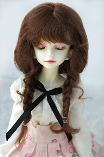 Light Mohair Brown (BJD Wigs D2033B Twins Braids Mohair BJD Doll Wigs varopis Sizes and Colors Available (Light Brown, 7-8inch))