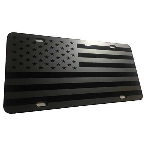 (CustoMonsterDesigns Tactical DEEP Gray US Flag American Flag License Plate Stealth Subdued Tactical)