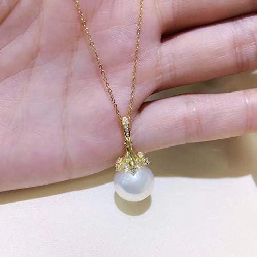 Collar con colgante de perla de pera personalizable con diseño de ...