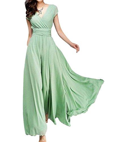 Mujer Vestido Corta Cuello Elegante Manga Puro V De Verde Largo Color Falda Vestido Dama del fqOrf