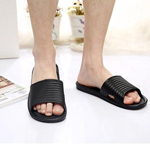 Sikye Male Sommer Flip Flops Mann Streifen Flat Bad Schuh Indoor & Outdoor Hausschuhe Schwarz