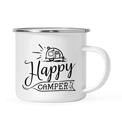 - Andaz Press 11oz. Stainless Steel Camping Coffee Mug Gift, Happy Camper, 1-Pack, Birthday Christmas Outdoors Metal Enamel Campfire Cup