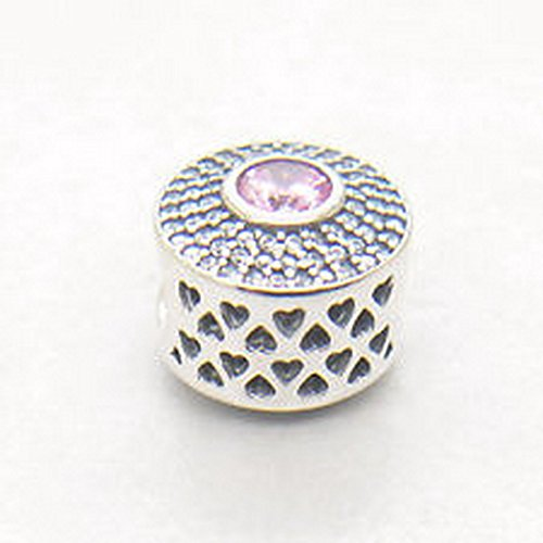 Burts Beads - Authentic S925 Silver Radiant Splendor Blush Pink Crystal Bead Love Heart NJOY13107