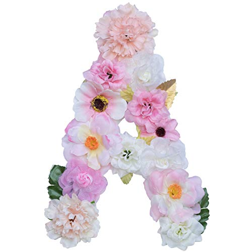 Artificial Ornaments Floral Letter Pink Theme,8.3x5.9x0.6in, Hang on Front Door and Wall, Home Decoration, Suit For Baby Shower, Anniversary, Birthday Party, Baby Room, Wall Ornament (1 Letter, A)]()