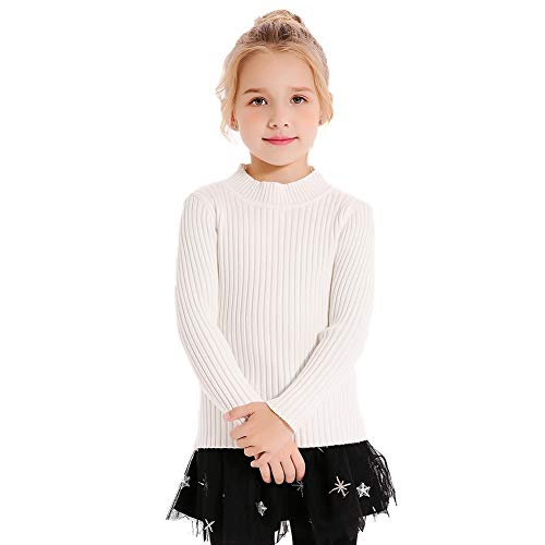 - SMILING PINKER Kids Girls Pullover Sweaters Knit Long Sleeve Turtleneck Fall Winter Basic Tops(5-6,White)