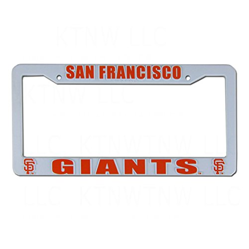 San Francisco Giants MLB Team Logo Auto Car Truck SUV Vehicle Universal-fit License Plate Frame - White Plastic - SINGLE (Mlb Logo Car)