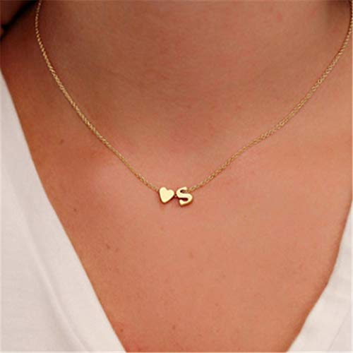 Hot Sale Tiny Dainty Heart Initial Necklace Personalized Letter Necklace Name Jewelry for Women Accessories Girlfriend Gift