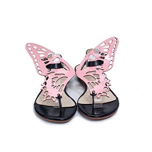AmoonyFashion Womens Thong Toe Cow Leather Soft Material Solid Sandals with Flower Pink U43ExRwwL