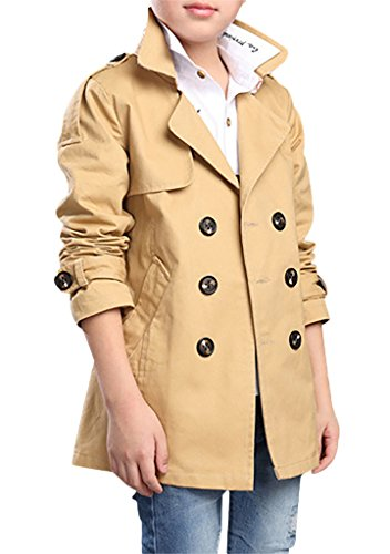 (JiaYou Child Kid Boy Stylish Cotton Blend Long Sleeve Double Breasted Trench Coat(Yellow,Height 47.24