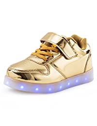 KEVENI Kids LED Light up Shoes Shiny Low-Top Fashion Flashing Sneakers for Boys Girls