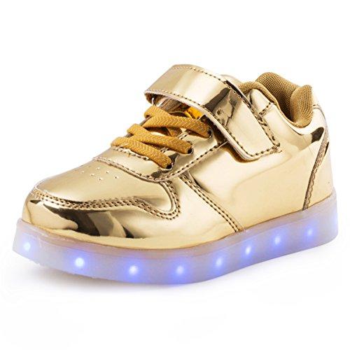 AFFINEST Boy Girls Light up Shoes Led Flashing Fashion Sneaker for Kids Toldder(Little Kid US1/EU32, Gold) by AFFINEST